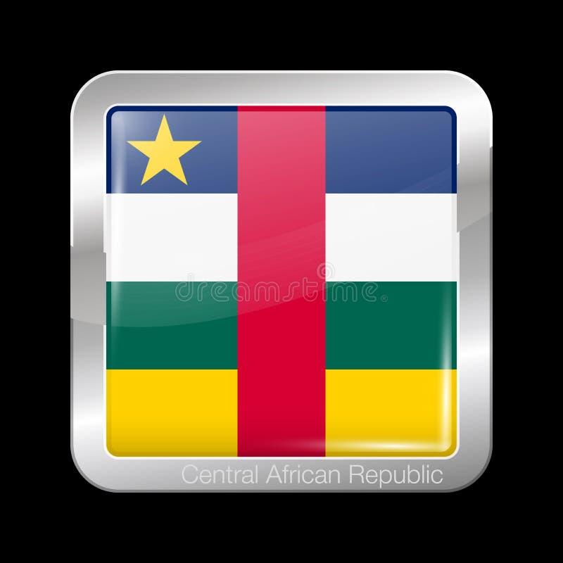 Флаг Центральноафриканской Республики Форма лоснистых и металла значка квадратная r иллюстрация штока
