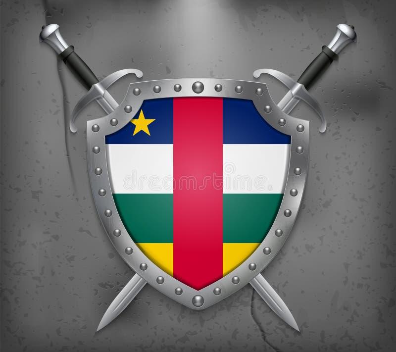 Флаг Центральноафриканской Республики Экран с национальным флагом 2 пересеченных шпаги Средневековая предпосылка иллюстрация штока
