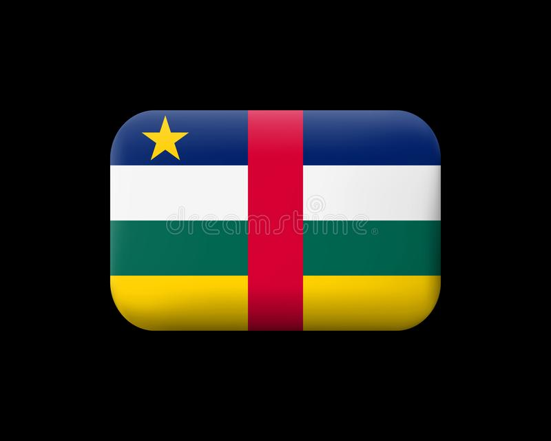 Флаг Центральноафриканской Республики Matted значок и кнопка вектора Прямоугольная форма с округленными углами иллюстрация штока
