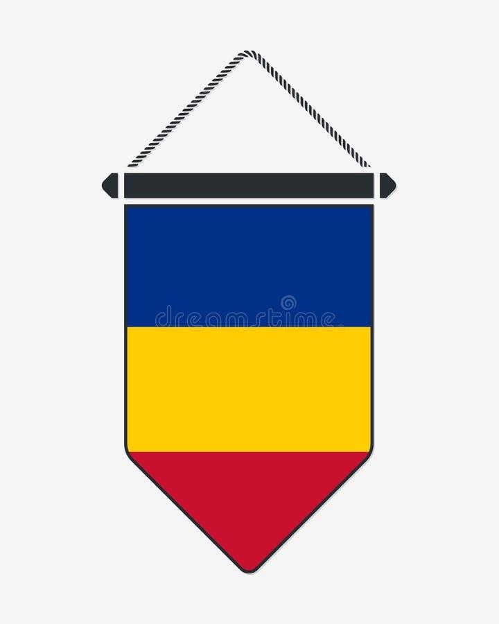 Флаг Чад Знак и значок вектора Вертикальный вымпел r иллюстрация вектора