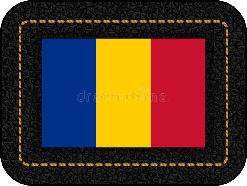 Флаг Чад Значок вектора на черном кожаном фоне 2:3 коэффициента иллюстрация штока