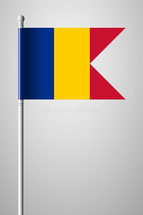 Флаг Чад Национальный флаг на флагштоке Изолированная иллюстрация на сером цвете иллюстрация штока