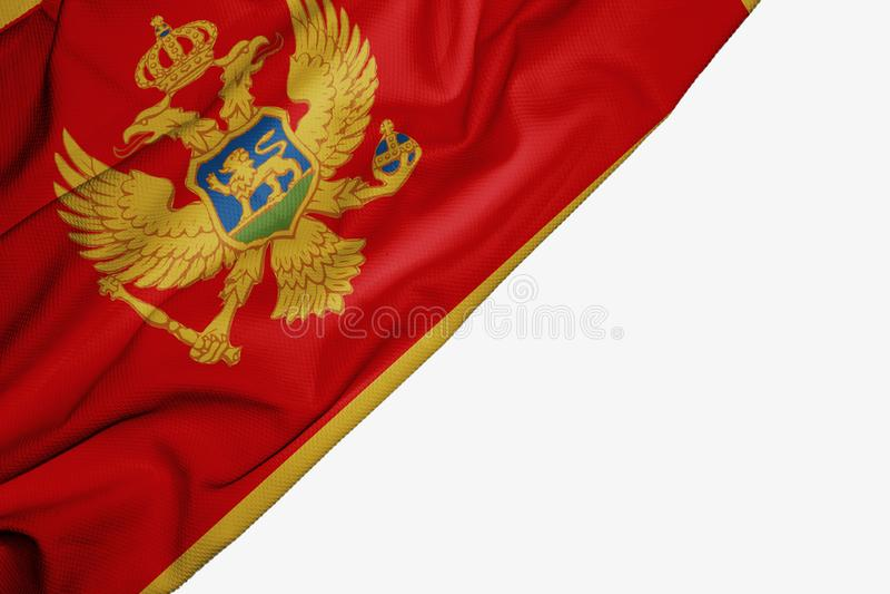 Флаг Черногории ткани с copyspace для вашего текста на белой предпосылке иллюстрация штока
