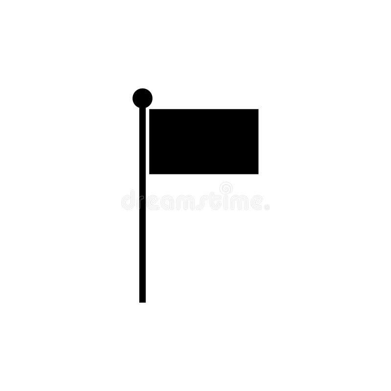 Флаг - черный значок вектора иллюстрация вектора