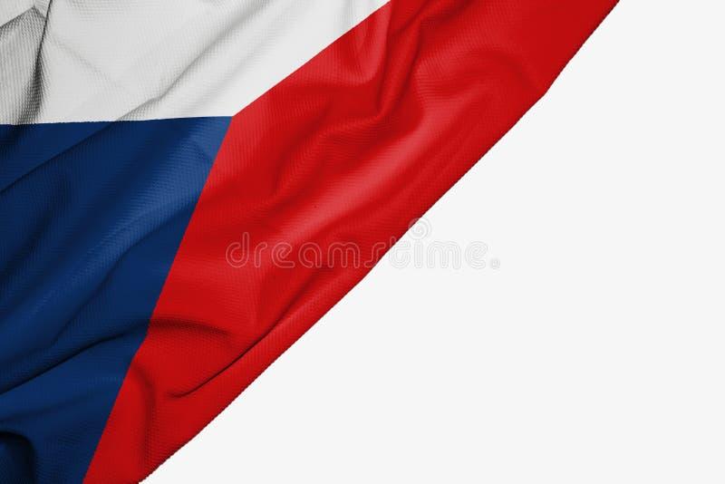 Флаг чехии ткани с copyspace для вашего текста на белой предпосылке иллюстрация вектора