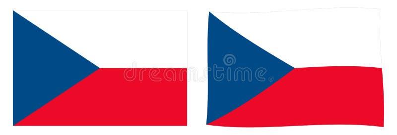 Флаг Чехия чехии Простое и немножко развевая versio иллюстрация вектора