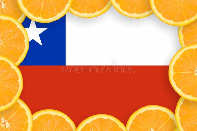 Флаг Чили в свежей рамке кусков цитрусовых фруктов бесплатная иллюстрация