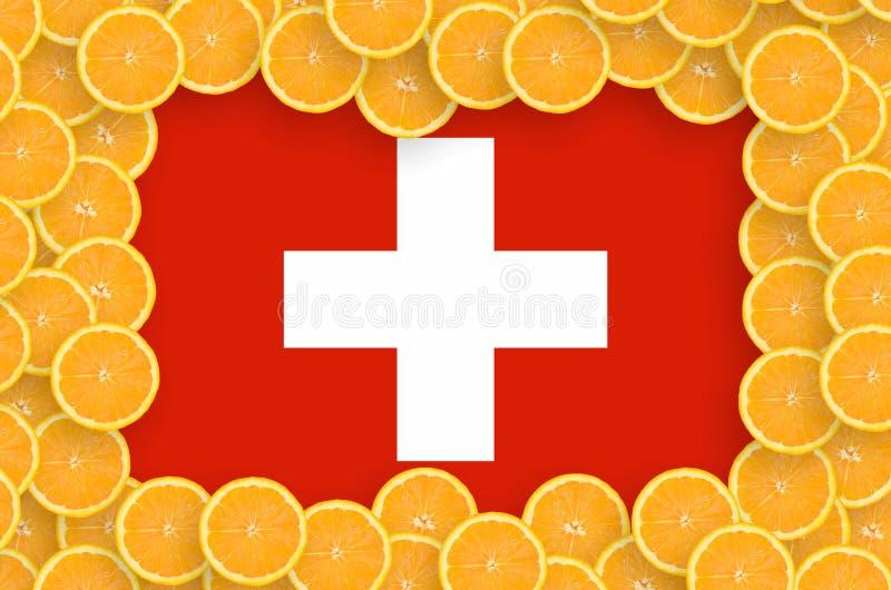 Флаг Швейцарии в свежей рамке кусков цитрусовых фруктов иллюстрация вектора