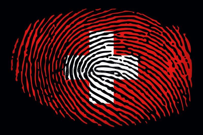 Флаг Швейцарии в форме отпечатка пальцев на черной предпосылке бесплатная иллюстрация