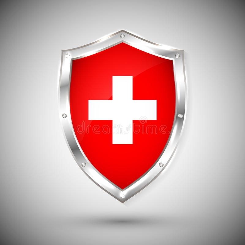 Флаг Швейцарии на иллюстрации вектора экрана металла сияющей Собрание флагов на экране против белой предпосылки Абстрактное Isola бесплатная иллюстрация