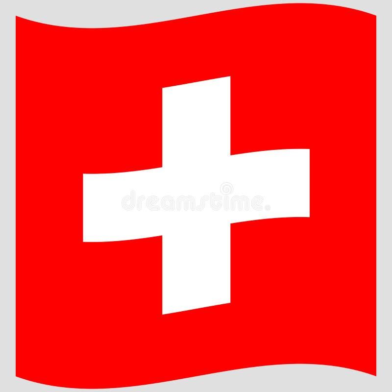 Флаг Швейцарии на серой иллюстрации вектора предпосылки иллюстрация вектора