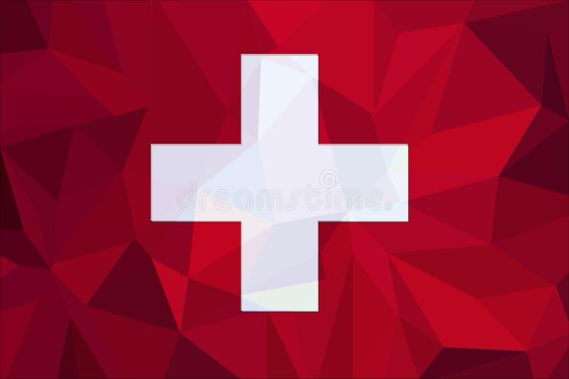 Флаг Швейцарии на текстурированной предпосылке ткани также вектор иллюстрации притяжки corel бесплатная иллюстрация