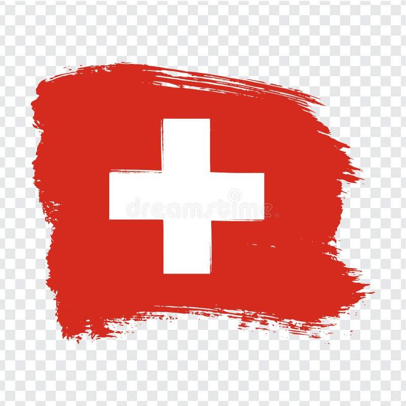 Флаг Швейцария, предпосылка хода щетки Флаг Швейцарии на прозрачной предпосылке Вектор запаса Флаг для вашего вебсайта d иллюстрация вектора