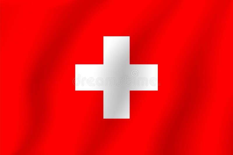 флаг Швейцария Реалистический флаг иллюстрации вектора Национальный S  Иллюстрация вектора - иллюстрации насчитывающей вектора, швейцария:  108169641