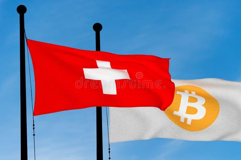 Флаг швейцарца и флаг Bitcoin иллюстрация штока