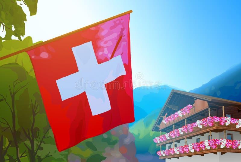 Флаг швейцарца на предпосылке природы иллюстрация штока