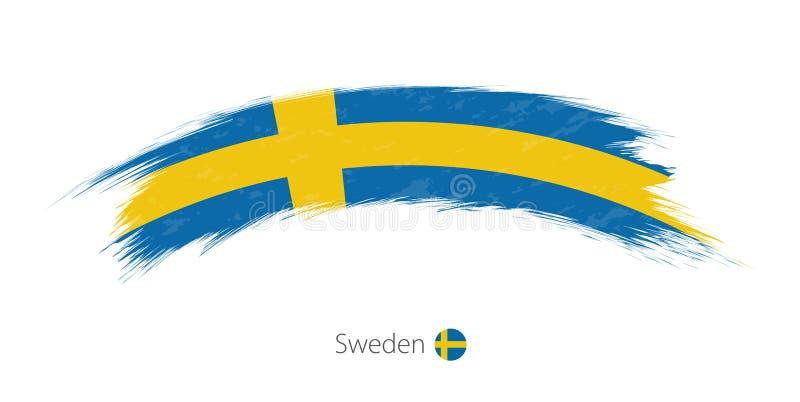 Флаг Швеции в округленном ходе щетки grunge иллюстрация штока