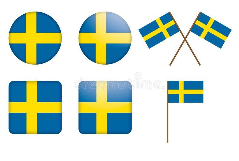 флаг Швеция значков иллюстрация вектора