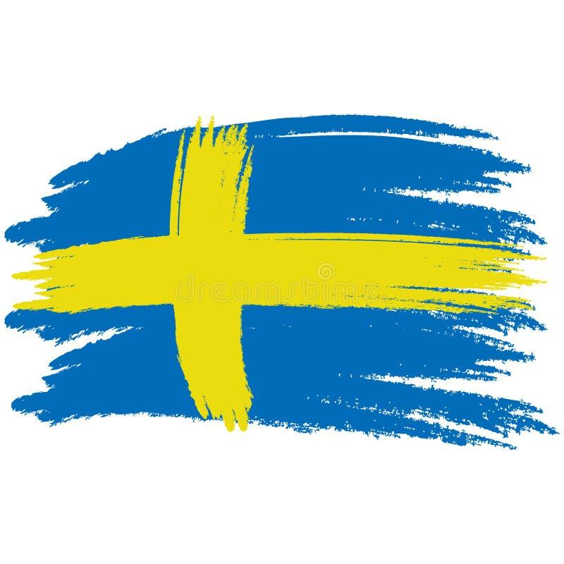 флаг Швеция Флаг покрашенный щеткой Швеции Нарисованная рукой иллюстрация стиля с влиянием и акварелью grunge флаг Швеция бесплатная иллюстрация