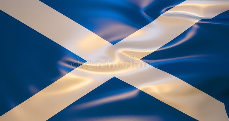 Флаг Шотландии в ветре иллюстрация 3d иллюстрация вектора