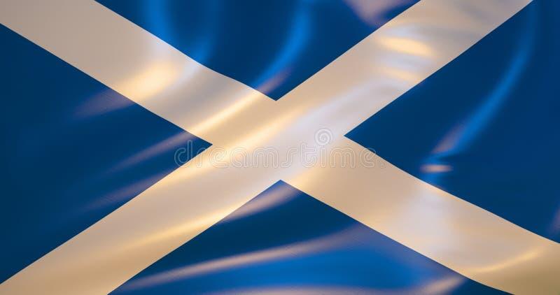 Флаг Шотландии в ветре иллюстрация 3d иллюстрация штока