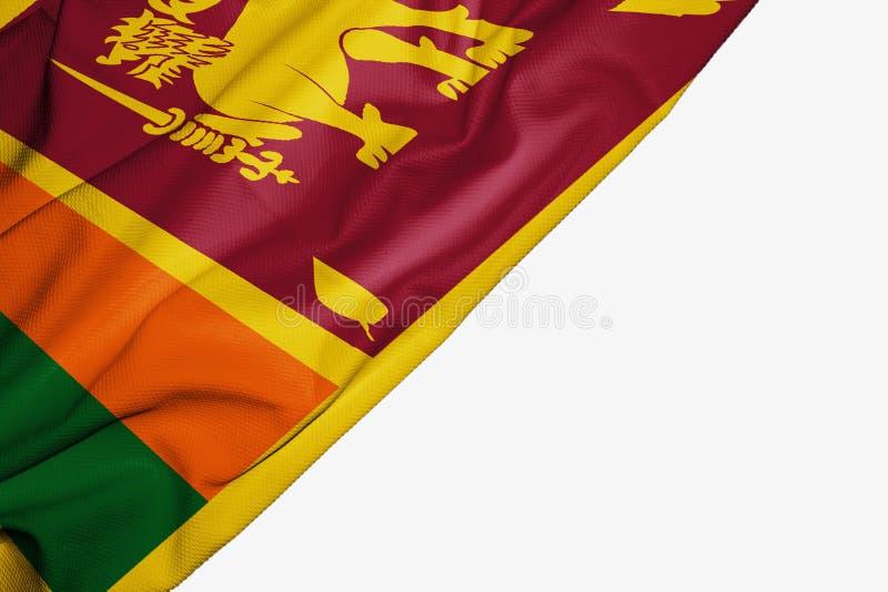 Флаг Шри-Ланка ткани с copyspace для вашего текста на белой предпосылке иллюстрация штока