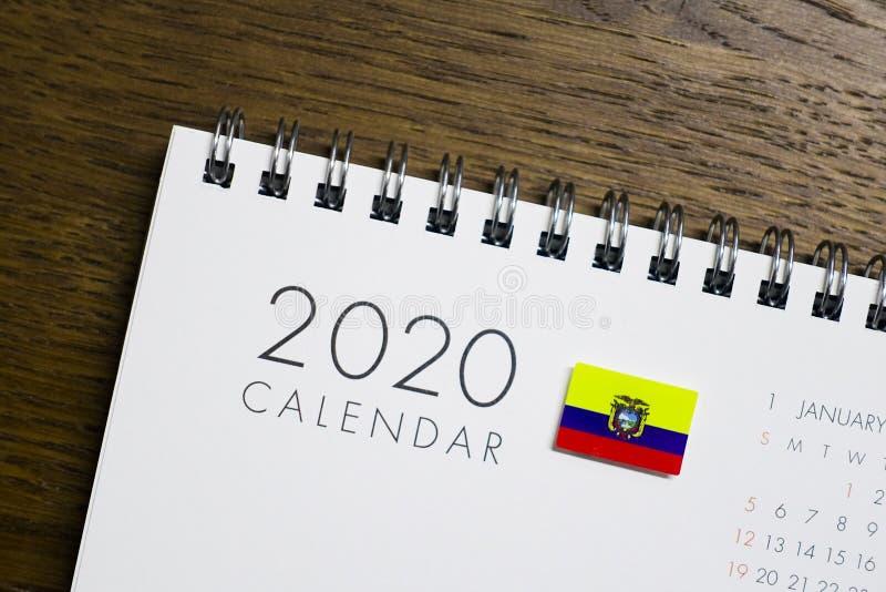 Флаг эквадора на календаре 2020 стоковые фото