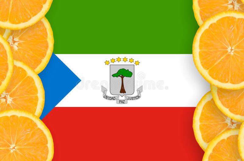Флаг Экваториальной Гвинеи в рамке кусков цитрусовых фруктов вертикальной бесплатная иллюстрация