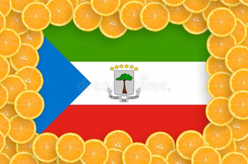 Флаг Экваториальной Гвинеи в свежей рамке кусков цитрусовых фруктов иллюстрация вектора