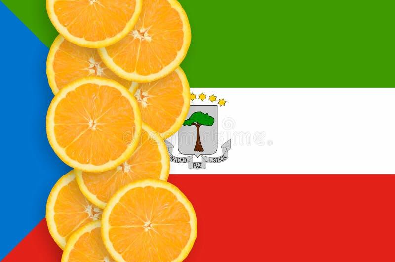 Флаг Экваториальной Гвинеи и строка кусков цитрусовых фруктов вертикальная бесплатная иллюстрация