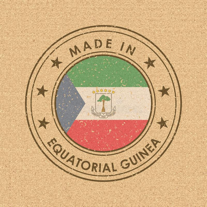 Флаг Экваториальной Гвинеи Наклейка с названием страны для отдельных национальных товаров Вектор иллюстрация вектора