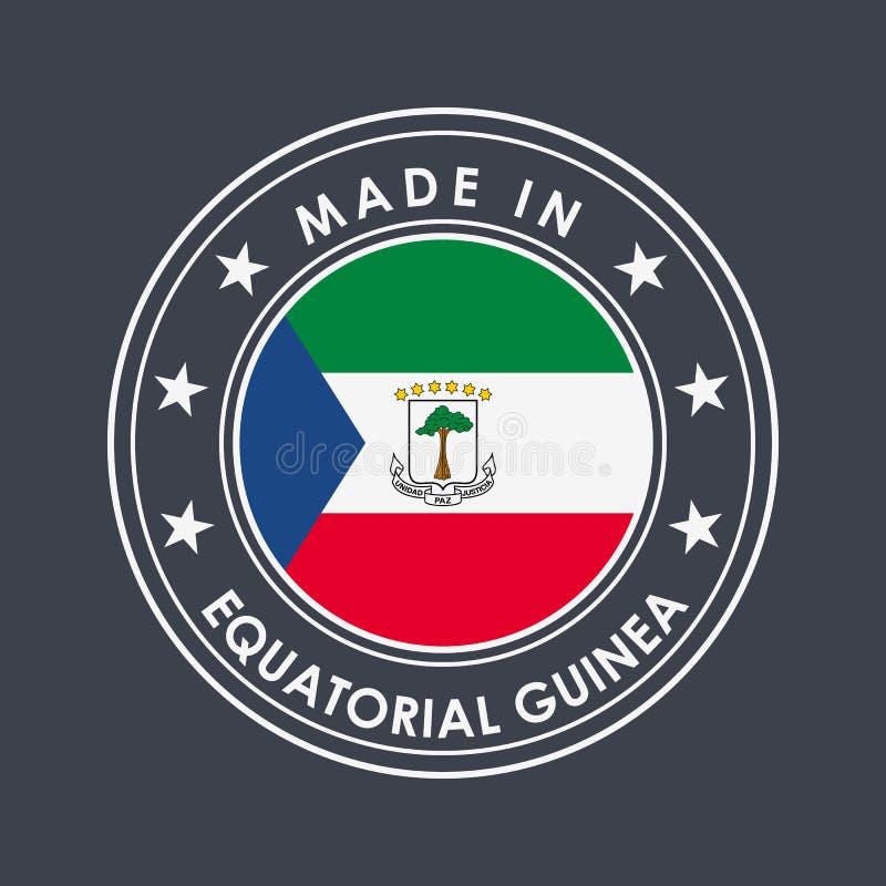 Флаг Экваториальной Гвинеи Наклейка с названием страны для отдельных национальных товаров Вектор иллюстрация штока
