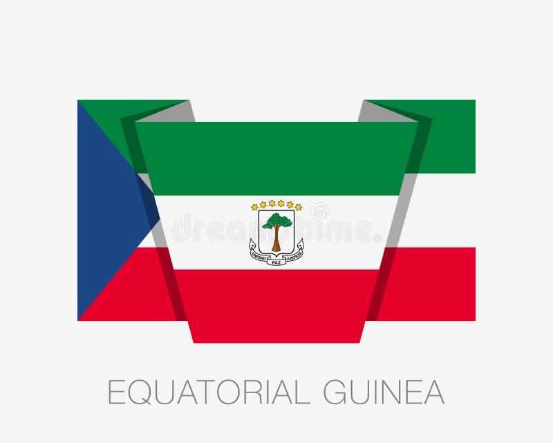 Флаг Экваториальной Гвинеи Флаг с плавающим значком с белым названием страны иллюстрация штока