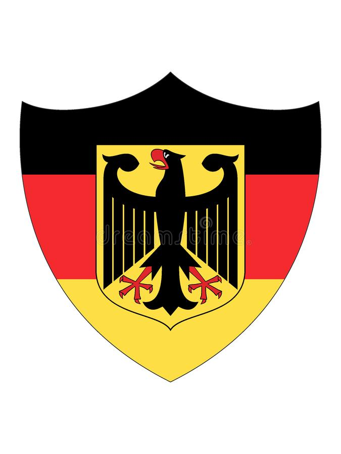 Флаг экрана форменный Германии с гербом иллюстрация вектора