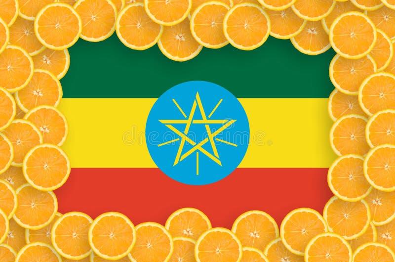 Флаг Эфиопии в свежей рамке кусков цитрусовых фруктов иллюстрация штока