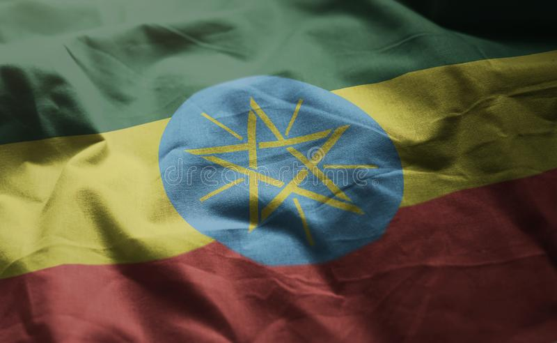 Флаг Эфиопии Rumpled близкая вверх стоковые фотографии rf