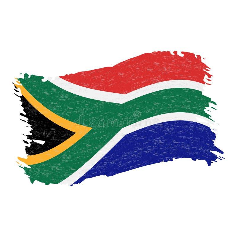 Флаг Южной Африки, хода щетки конспекта Grunge изолированного на белой предпосылке также вектор иллюстрации притяжки corel бесплатная иллюстрация