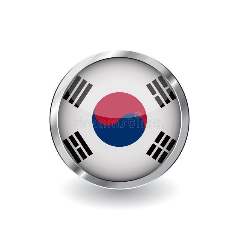 Флаг Южной Кореи, кнопка с рамкой металла и тень Значок вектора флага Южной Кореи, значок с лоснистым влиянием и металлическое bo иллюстрация вектора
