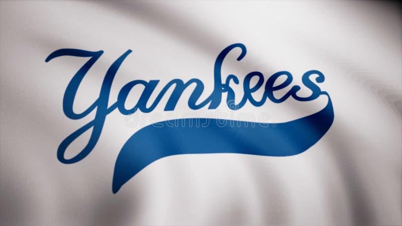 Флаг янки Нью-Йорка бейсбола, американский профессиональный логотип бейсбольной команды, безшовная петля Редакционная анимация стоковые фото