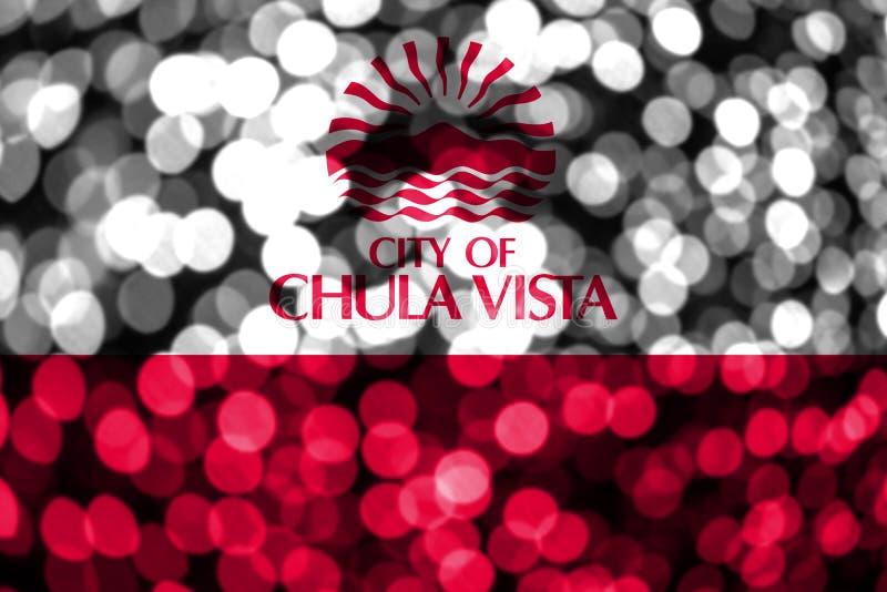 Флаг bokeh Chula Vista, Калифорния абстрактный расплывчатый Флаг концепции рождества, Нового Года и национального праздника полож иллюстрация вектора