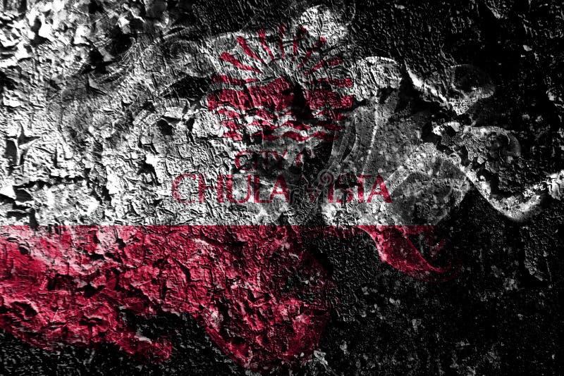 Флаг Chula Vista, Калифорния закоптелый мистический на старой грязной пред иллюстрация вектора
