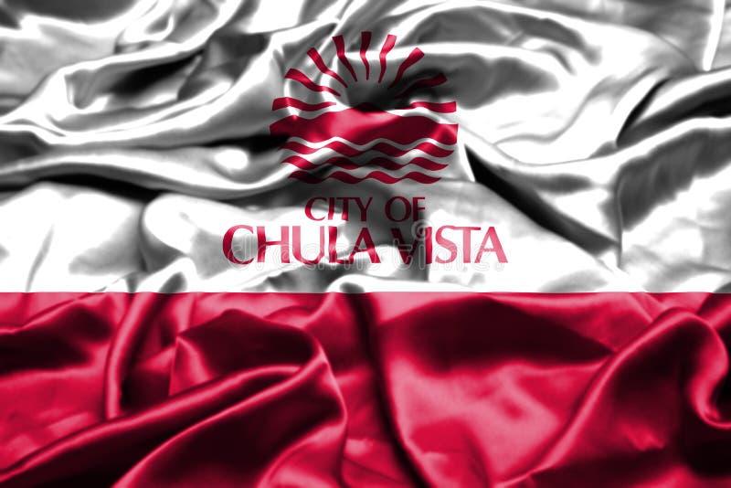 Флаг Chula Vista, Калифорния развевая в ветре положения америки соединили иллюстрация штока