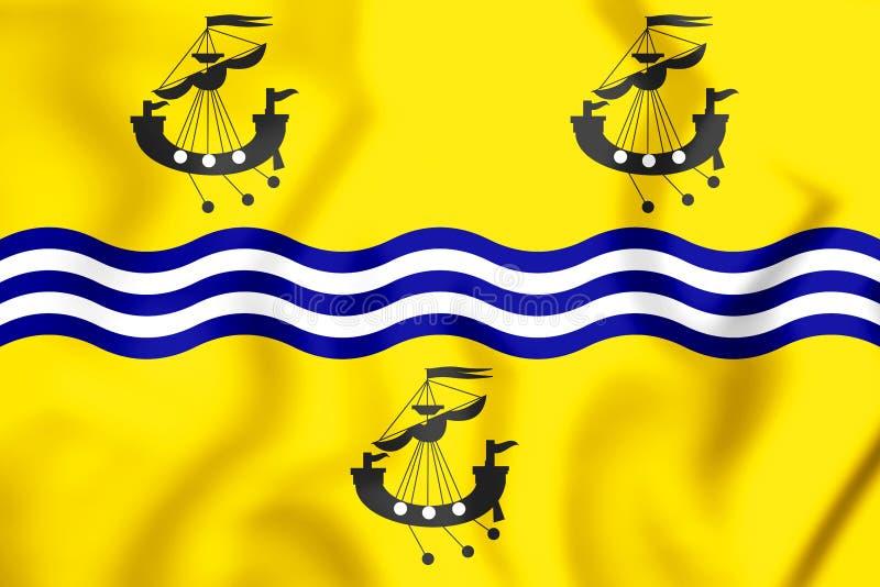 флаг 3D совета островов Comhairle Nan Eilean Siar западного, Шотландии иллюстрация вектора