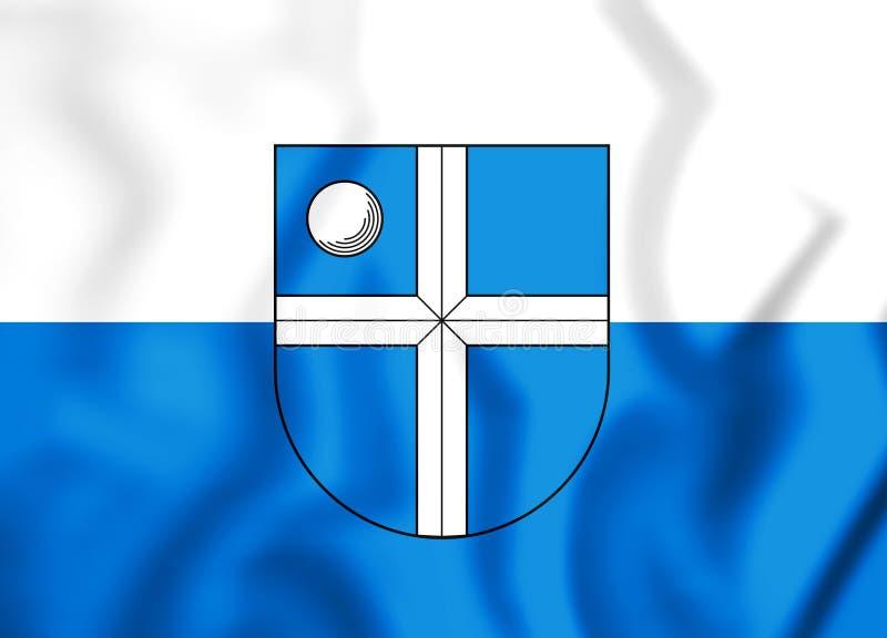 флаг 3D Bruchsal Баден-Wurttemberg, Германии иллюстрация вектора