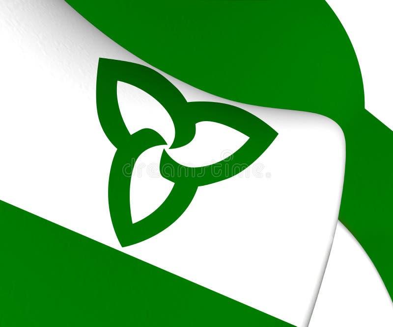 флаг 3D Ensign зеленого цвета Онтарио, Канады иллюстрация штока
