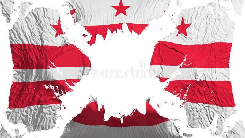 Флаг DC Вашингтона сорванный городом порхая в ветре иллюстрация вектора