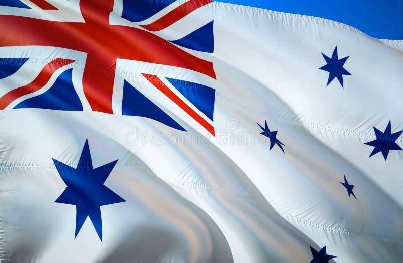 Флаг ensign Австралии военноморской развевая дизайн флага 3D Национальный символ ensign Австралии военноморского, перевода 3D Авс бесплатная иллюстрация