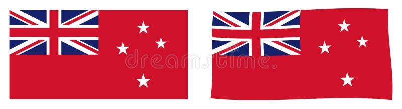 Флаг ensign Новой Зеландии красный используемый штатскими сосудами Простое a иллюстрация вектора