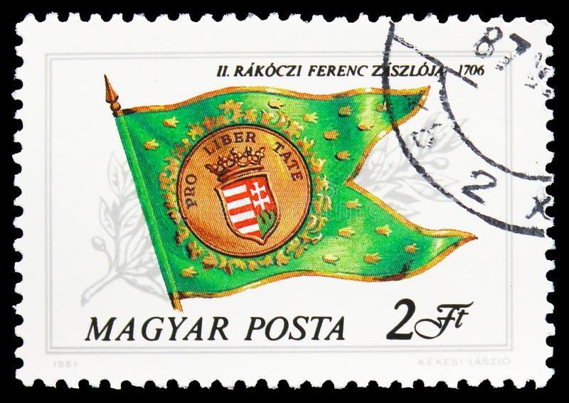 Флаг Ferenc Rakoczi II, 1716, историческое serie флагов, около 1981 стоковое фото rf
