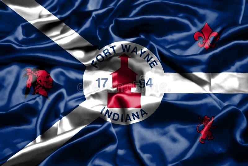 Флаг Fort Wayne, Индианы развевая в ветре положения америки соединили иллюстрация штока